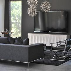Modern Gray Living Room Open Shelves In Black And Contemporary