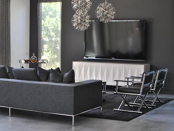 grey velvet slipper chair ergonomic x panel media cabinet with flatscreen tv - transitional living room