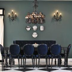 Black Dining Room Chair Recliner Covers For Sale Diningtable With Blue Velvet Chairs Contemporary