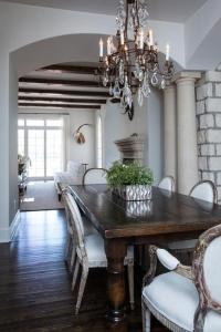 Dark Wood Dining Table with Gray French Dining Chairs ...