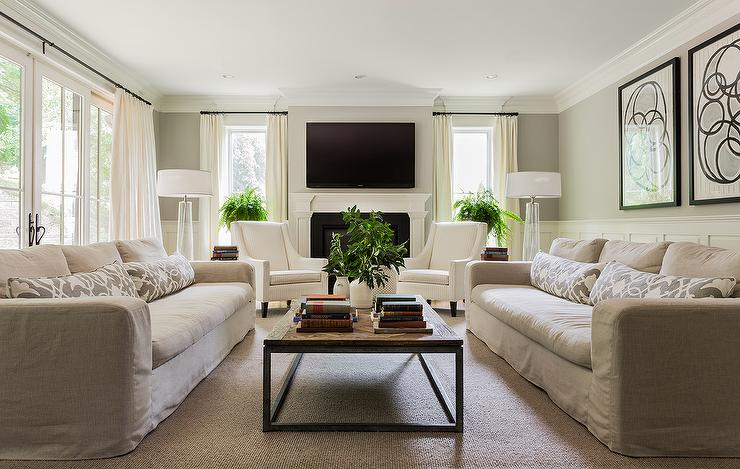 Gray Linen Slipcovered Sofas with Gray Pillows