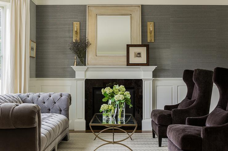 nailhead wingback chair high for girl gray chesterfield sofa - transitional living room kerrisdale design