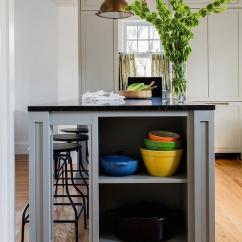 Kitchen Island With Built In Seating Diy Countertops Grey End Shelves - Transitional