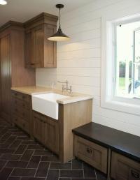 Laundry Room Slate Herringbone Tile Floor Design Ideas