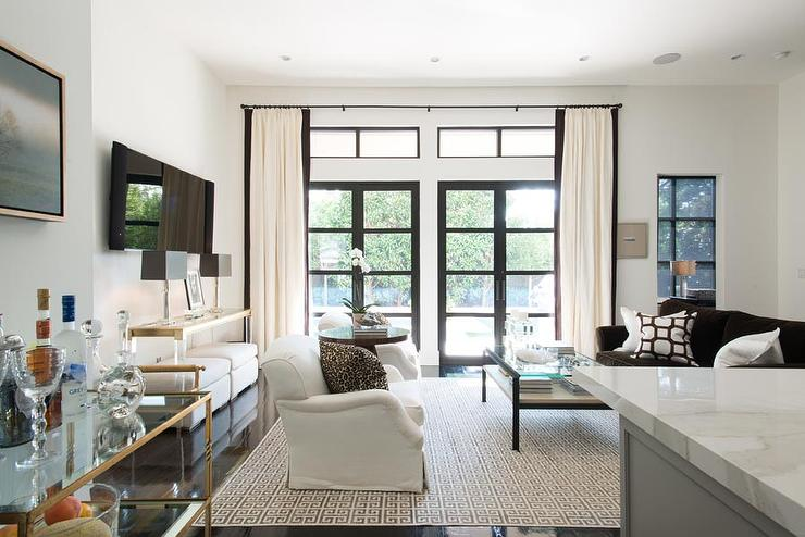 White and Brown Living Rooms  Transitional  Living Room