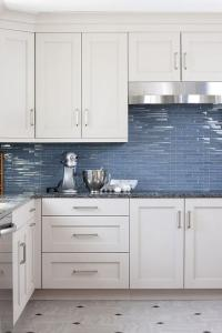 Blue Glass kItchen Backsplash Tiles - Transitional - Kitchen