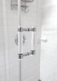 Lucite Chrome or Brass Shower Door Pull Handles