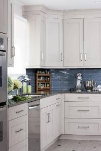 White Kitchen Cabinets Blue Glass Backsplash Design Ideas