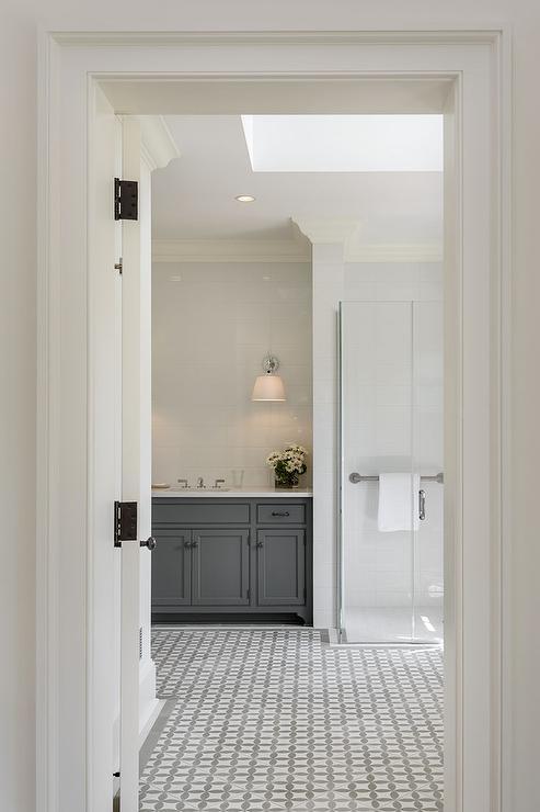 White and Gray Bathroom Floor Tiles  Contemporary  Bathroom