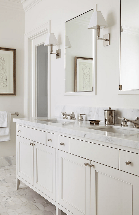 Cream Bathroom Vanity with White Marble Top  Transitional