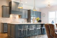 Gray Blue Kitchen Cabinets - Transitional - Kitchen
