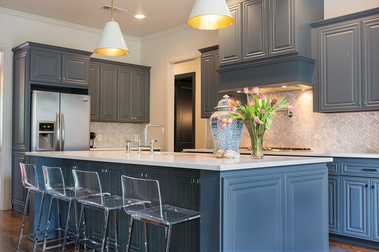 Gray Blue Kitchen Cabinets  Transitional  Kitchen