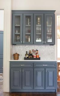 Butler Pantry with Marble Chevron Backsplash ...