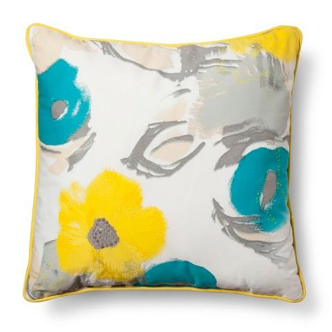 Blue and Yellow Pavot Birch Throw Pillow design by