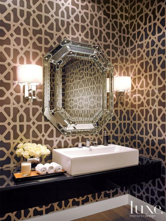 Powder Room with Floating Vanity  Contemporary  Bathroom