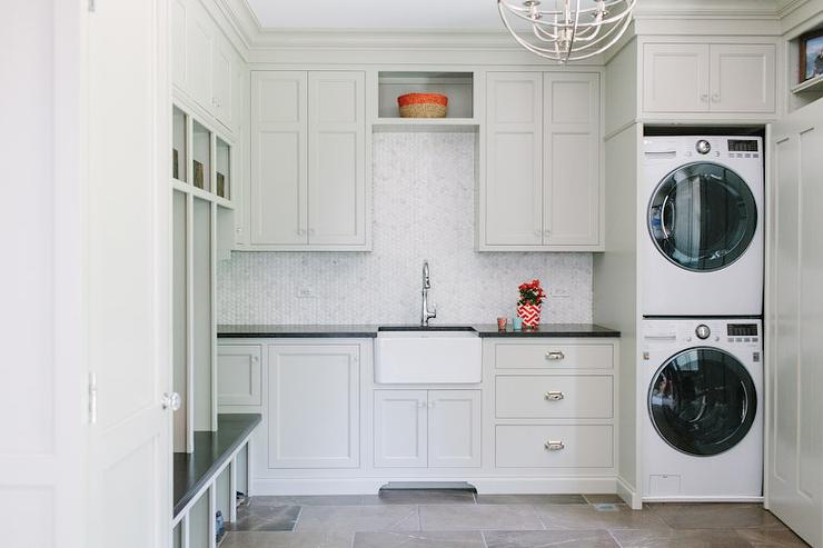 Light Gray Cottage Laundry Rooms Cottage Laundry Room