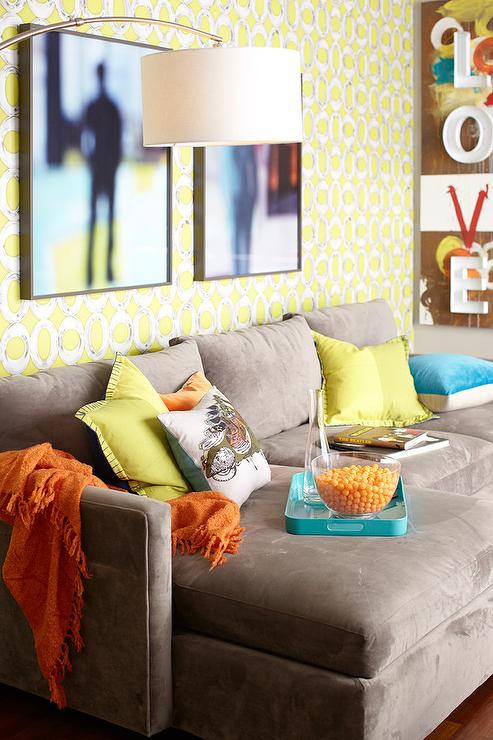 Taupe Velvet Sofa with Chaise Lounge with Yellow Pillows