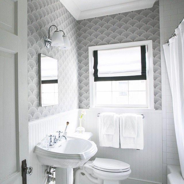 Black and White Bathroom Wallpaper  Transitional  Bathroom