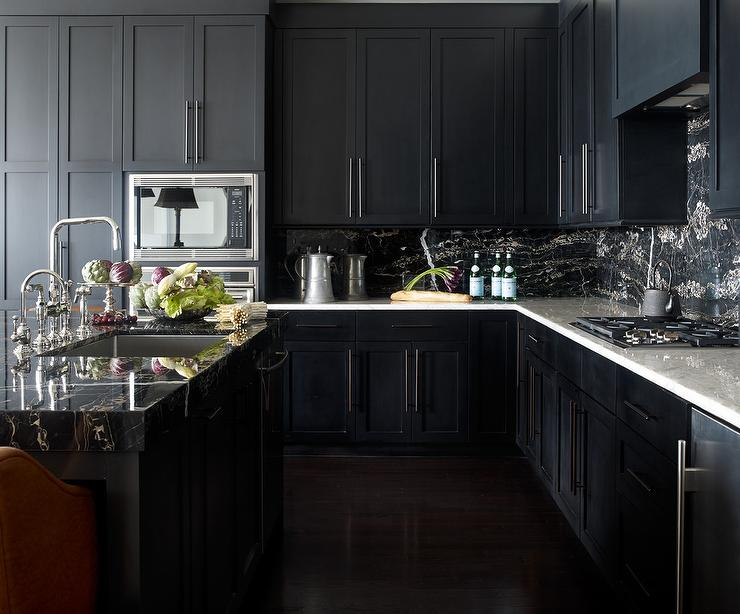 Noir Kitchen Cabinets With White Marble Countertops