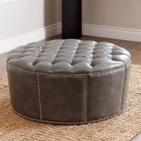ABBYSON LIVING Newport Grey Leather Nailhead Trim Round ...