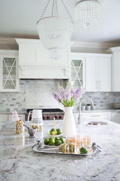 white kitchen with grey granite Gray and White Granite Countertops - Transitional - Kitchen