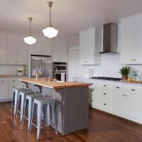 Gray Kitchen Island with Butcher Block Top - Transitional ...