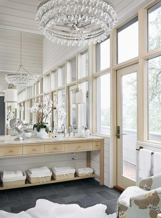 Bathroom with Slate Tile Floor  Transitional  Bathroom