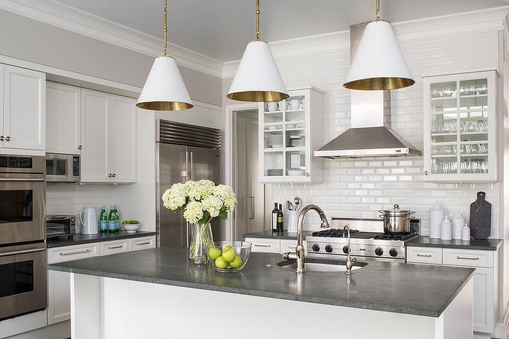 White Kitchen Cabinets with Concrete Countertops