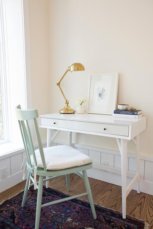 White Desk with Mint Green Chair  Cottage  Denlibrary