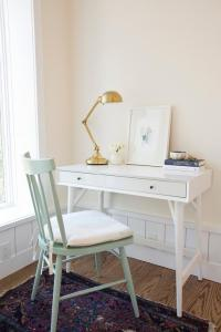 White Desk with Mint Green Chair - Cottage - Den/library ...