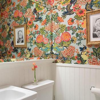 Chiang mai Dragon Wallpaper  Transitional  bathroom