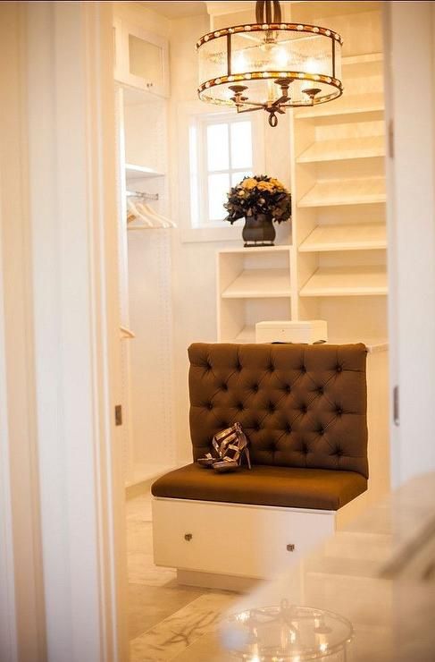 Walk In Closet With Island Bench Transitional Closet