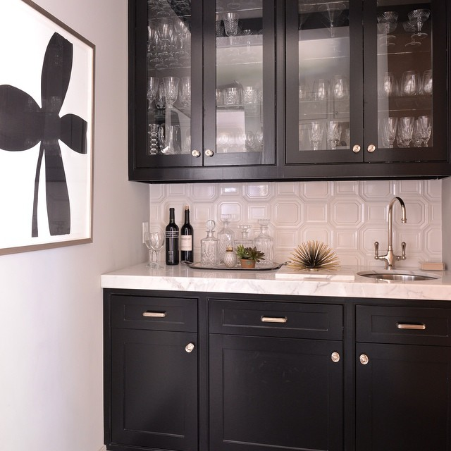 Pantry Cabinet Black Pantry Cabinet with Black Glass