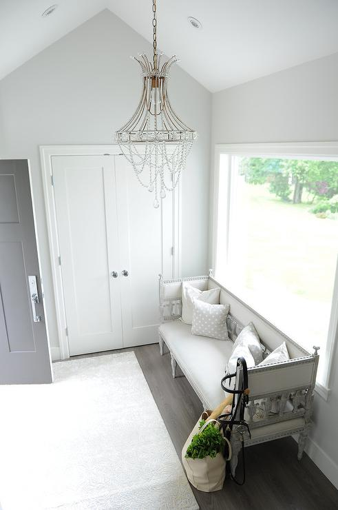 Foyer with Gray Trellis Wallpaper  Contemporary