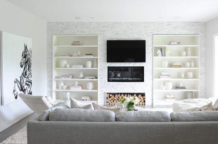 Living Room With Built In Bookcases Flanking Fireplace Part 64