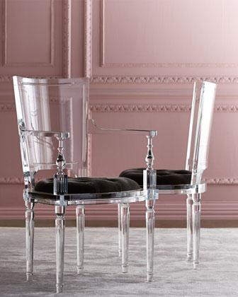 acrylic chairs with cushions set of two accent global views katherine clear