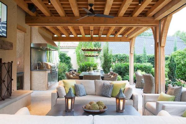 covered outdoor living space Covered Patio Living Space - Transitional - Deck/patio