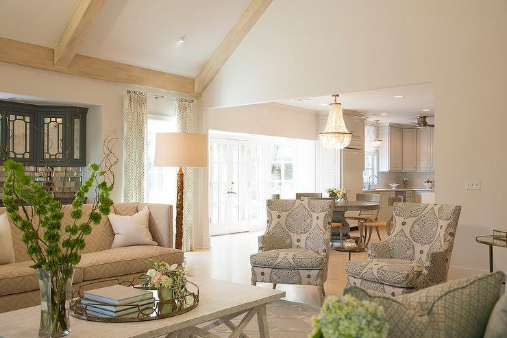 print chairs living room small colour design greek key sofa transitional
