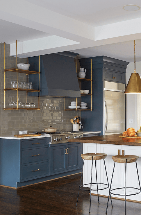 Wood And Brass Kitchen Shelves Suspended From The Ceiling Transitional Kitchen