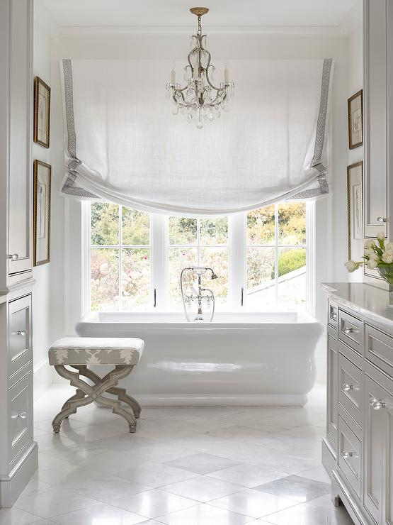 Master Bathroom with Gray Washstand  French  Bathroom