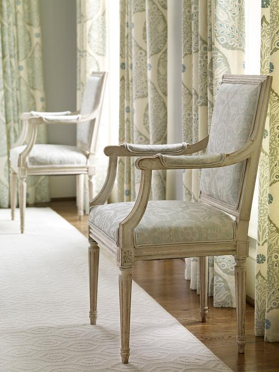 bedroom chair design tan leather dining room chairs gray leaf print curtains transitional