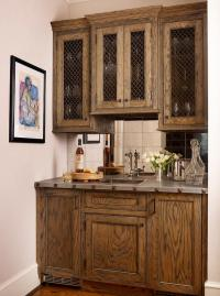 Gray Wet Bar Cabinets with Gold Pulls