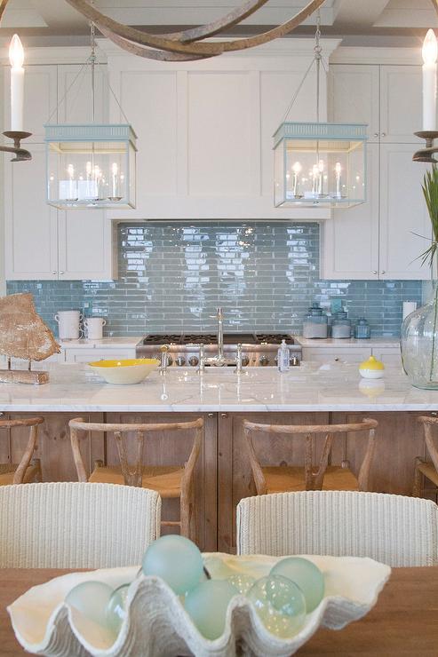 Kitchen with Blue Backsplash and Blue Lanterns  Cottage  Kitchen