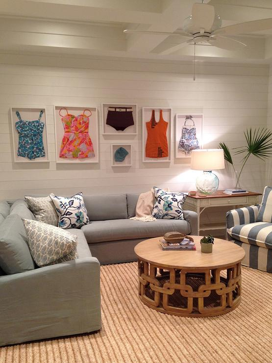 Gray Slipcovered Sectional in Family Room  Cottage