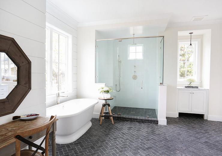 black brick herringbone floor cottage