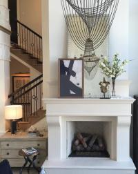 Mirror and Art Over Fireplace - Transitional - Living Room