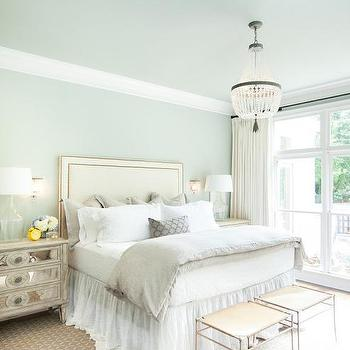 blue and cream bedroom Taupe Headboard and Bedskirt - Transitional - Bedroom