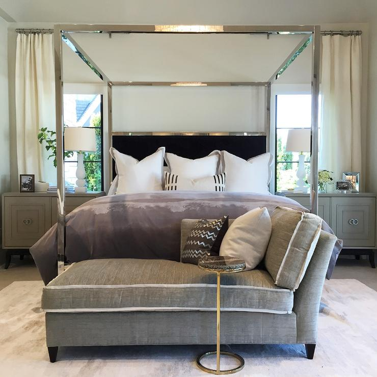 Mirrored Canopy Bed with Black Velvet Headboard  Transitional  Bedroom