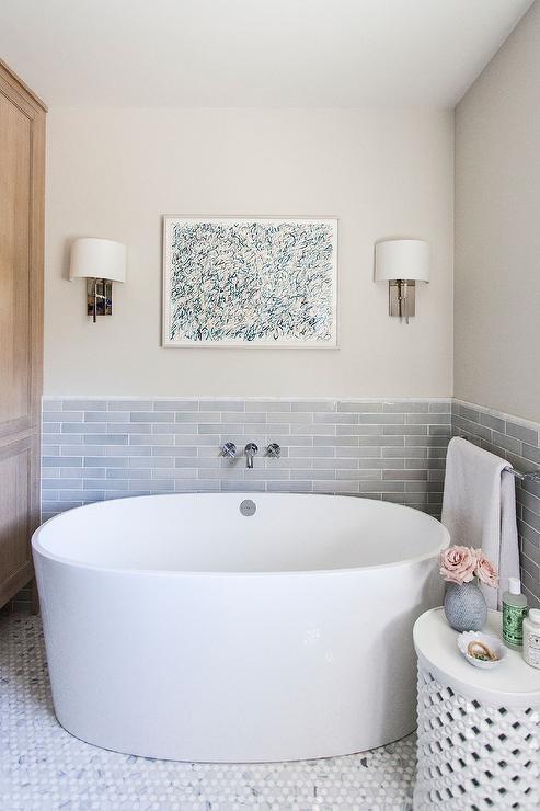 Fern Art Over Freestanding Oval Tub  Cottage  Bathroom