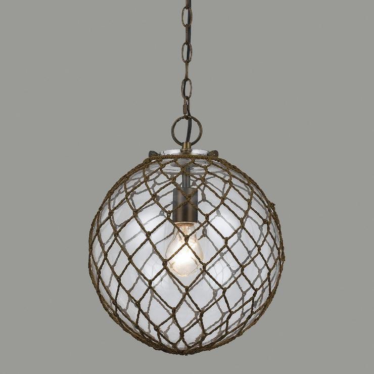 Oval RopeWrapped Bubble Glass Burnett Bronze Pendant Lamp
